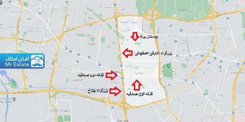 راهنمای نقشه محله صادقیه