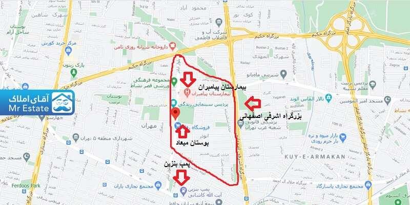 بلوار اباذر تهران روی نقشه